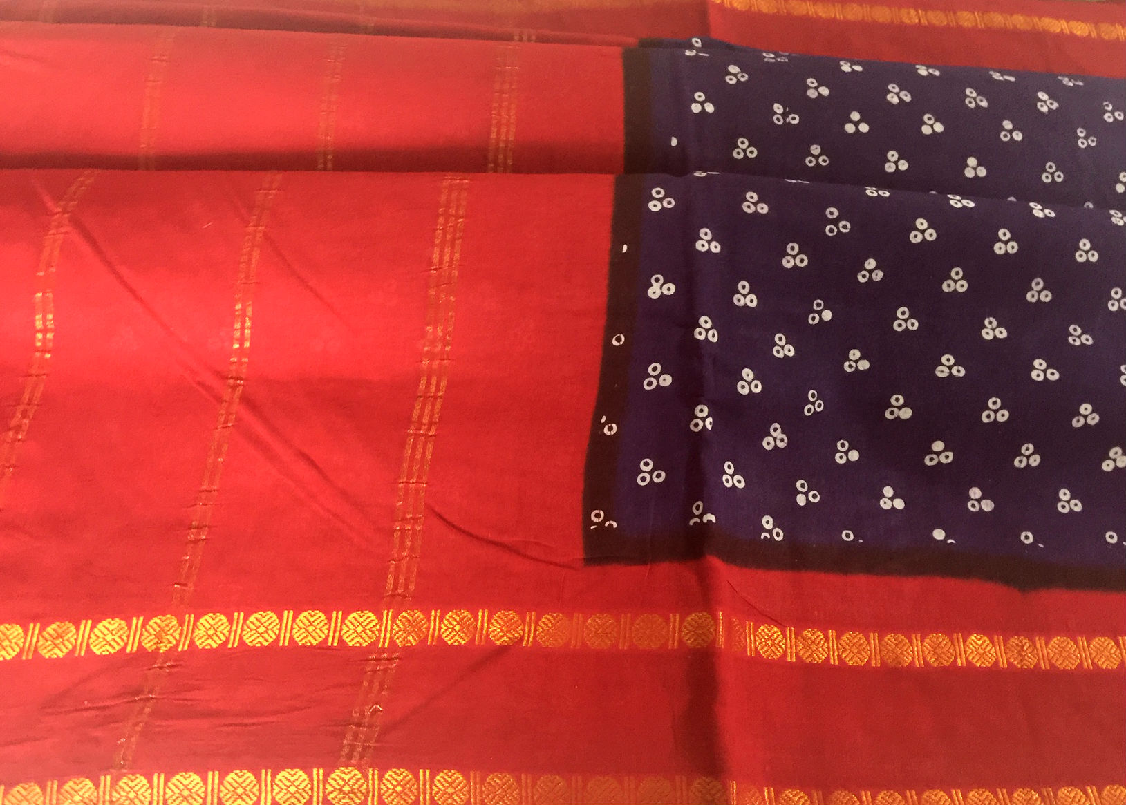 Nine Yard Traditional Purple Sungudi with Rudraksh Border