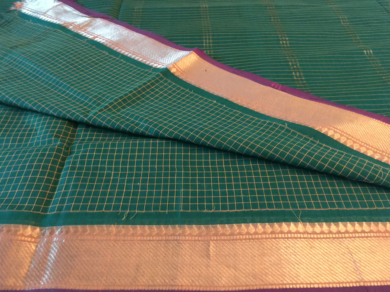 Nine Yard Kanchi Cotton Green Checked Saree