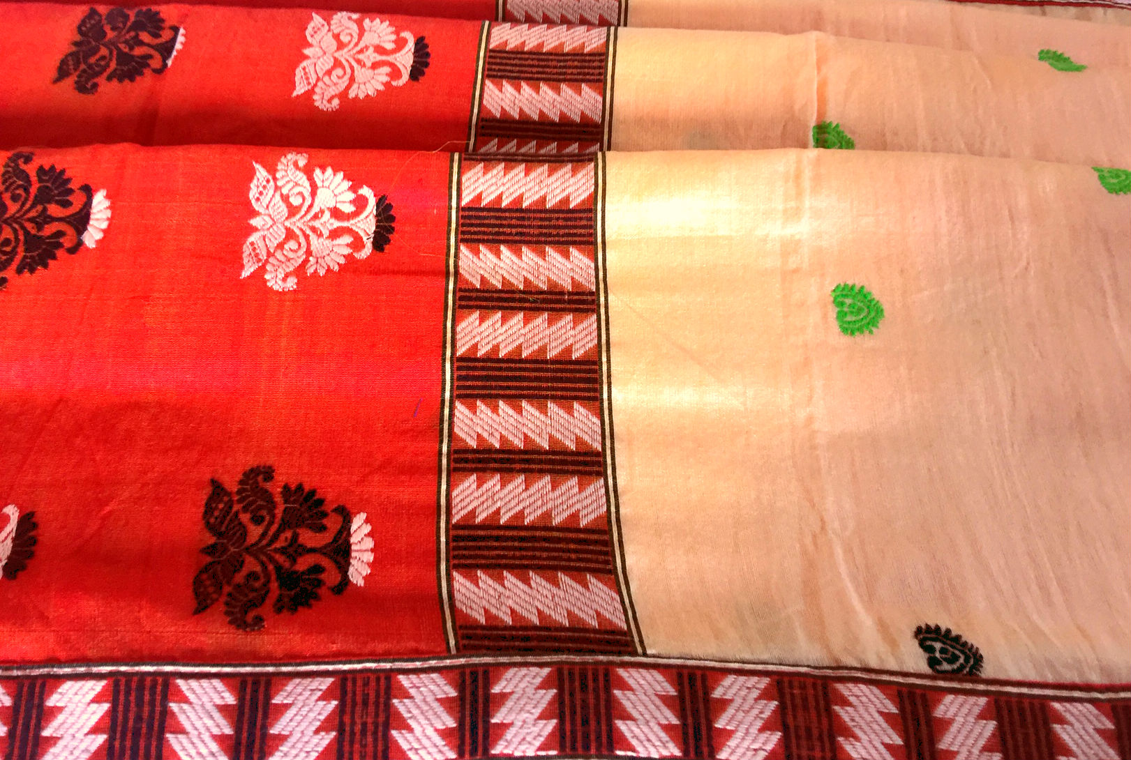 Assam Peach and Red Cotton