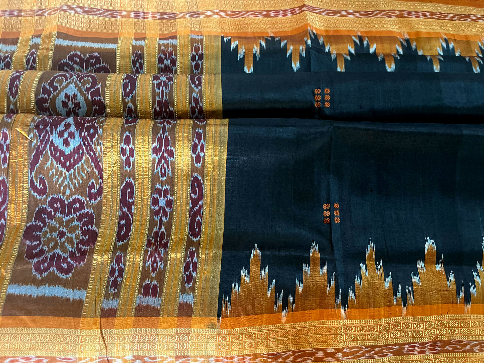 Orissa Black and Orange Traditional Ikat