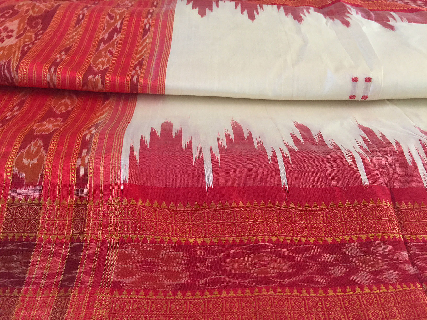 Orissa Cream and Red Traditional Silk Ikat