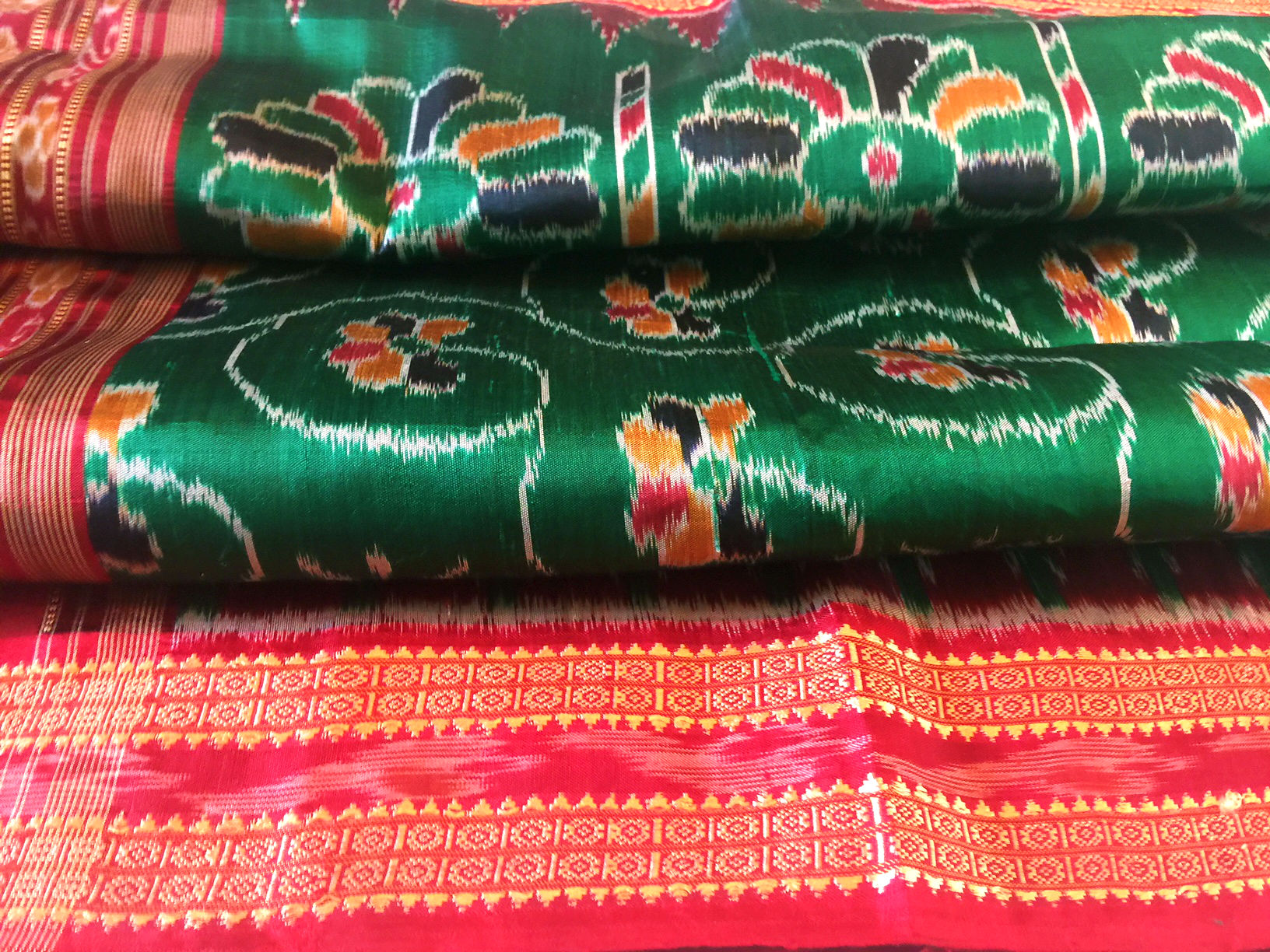 Orissa Emerald Green and Red Silk Ikat