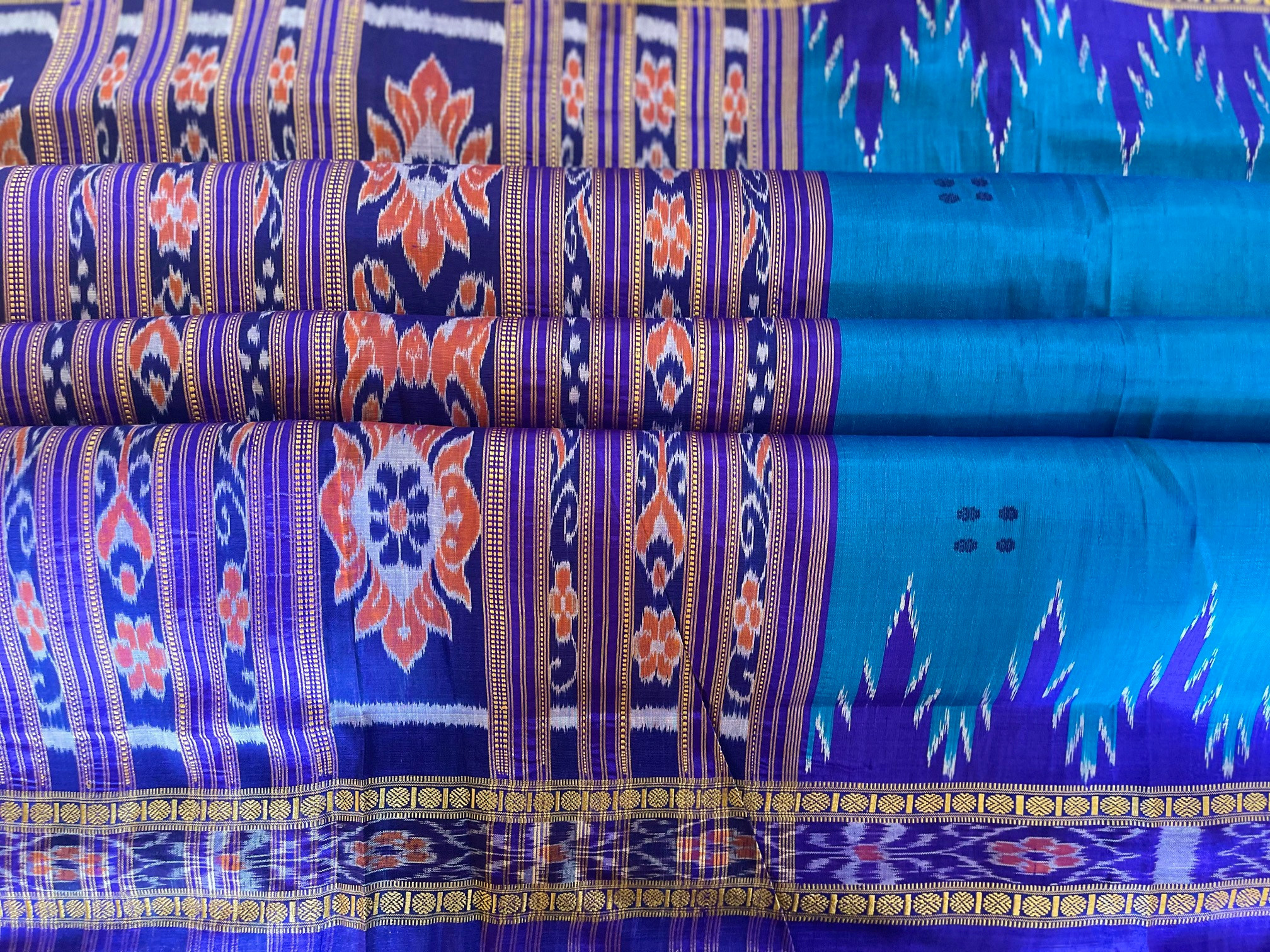 Orissa Peacock Blue and Purple Traditional Ikat