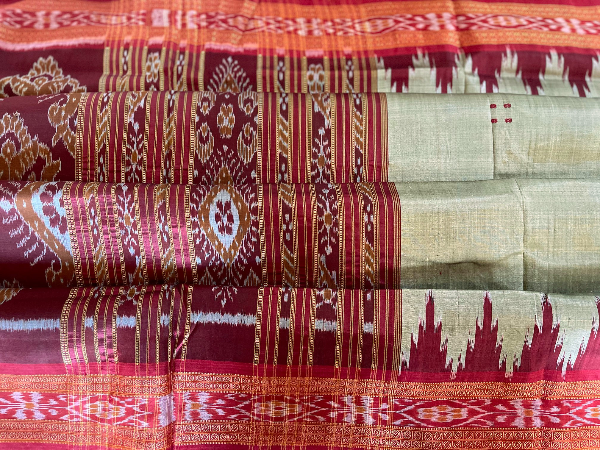 Orissa Tea Green and Red Traditional Ikat