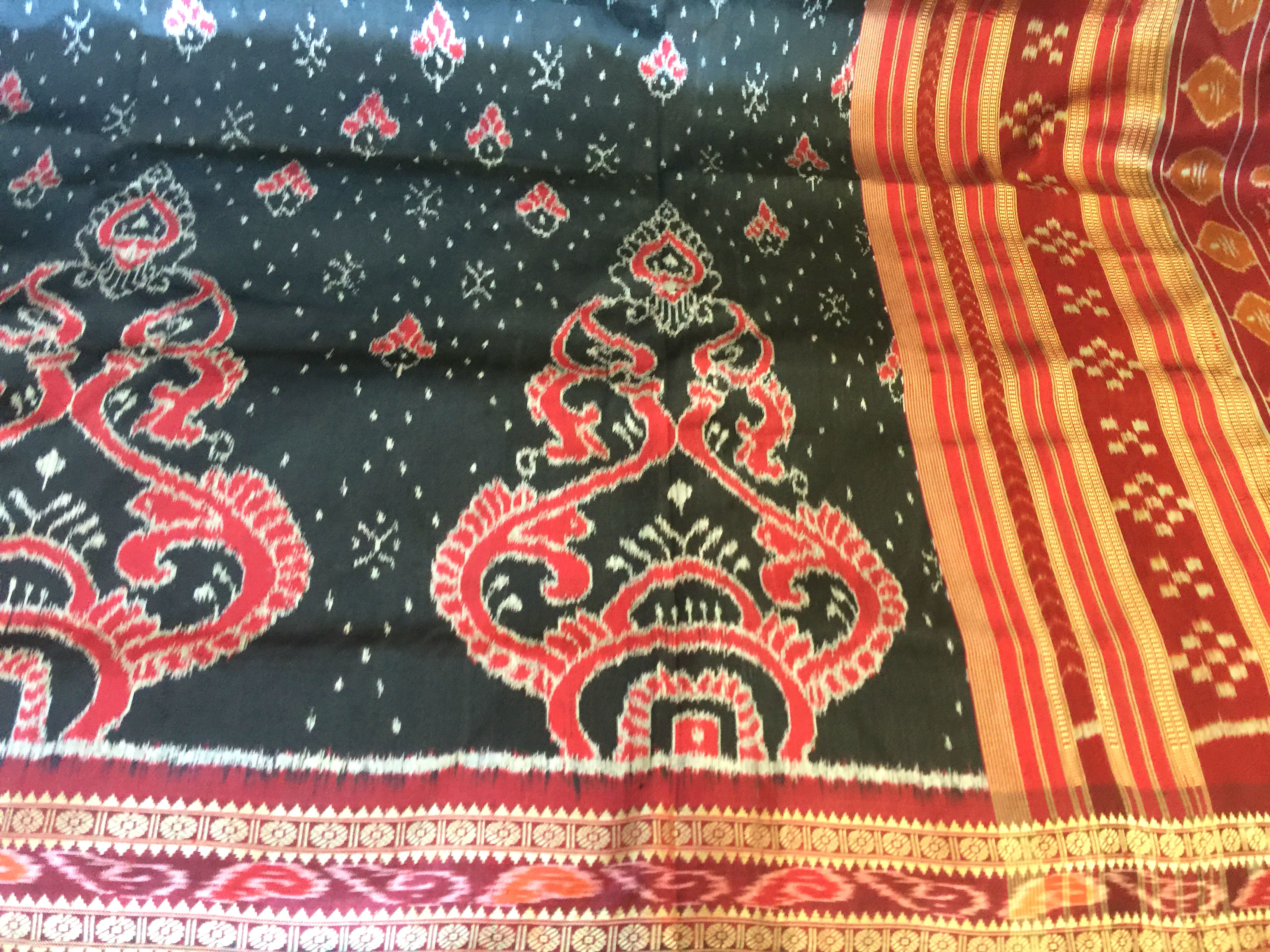 Orissa Black and Maroon Ikat Silk