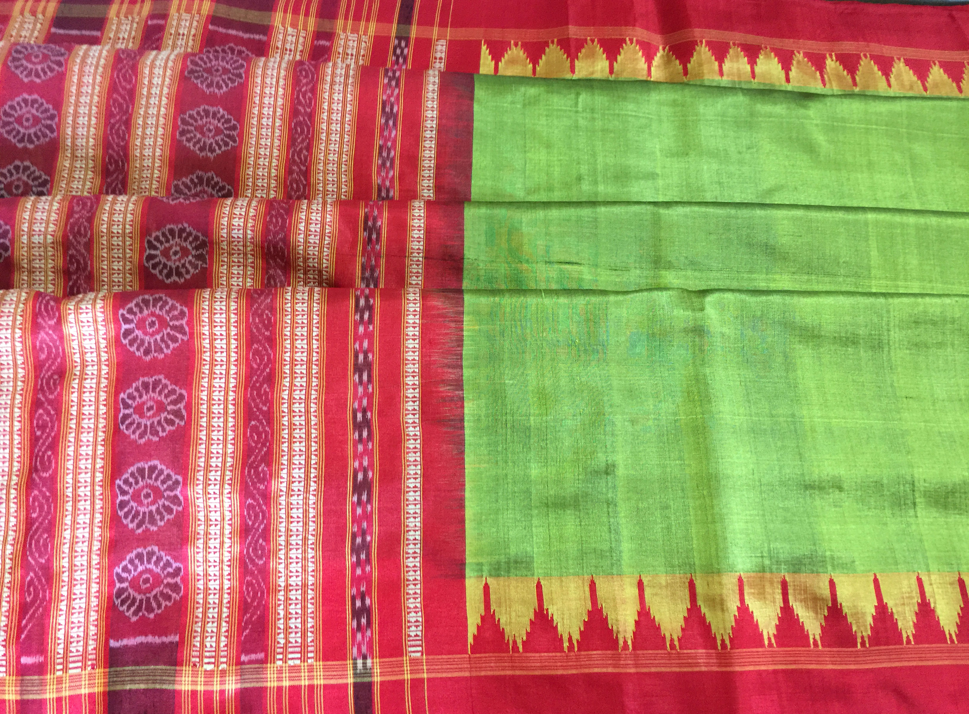 Orissa Green and Red Silk Ikat