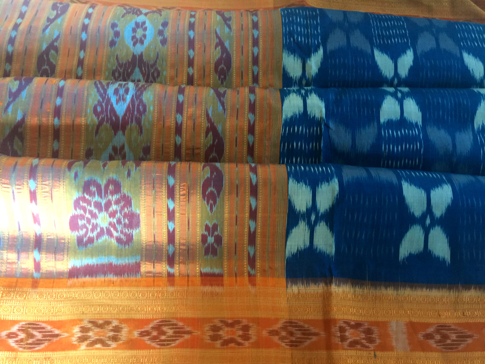 Orissa Blue and Orange Ikat Silk
