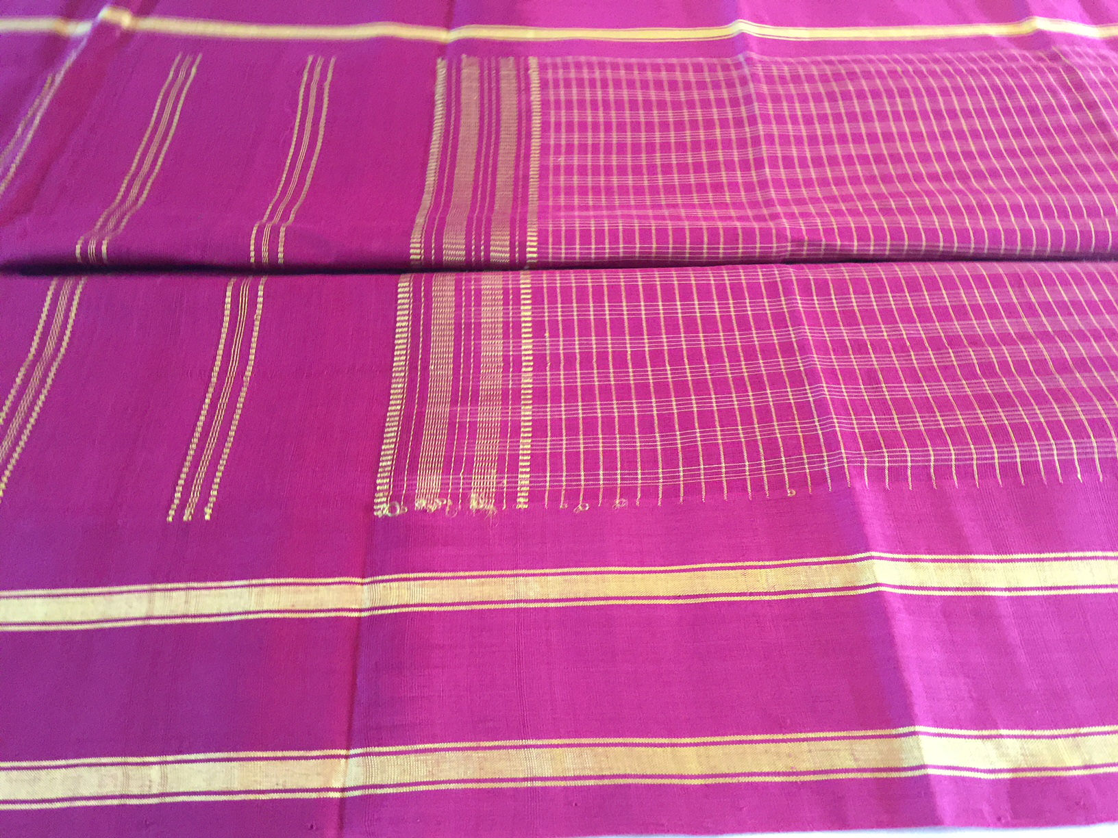 Udupi Cranberry and Yellow Saree