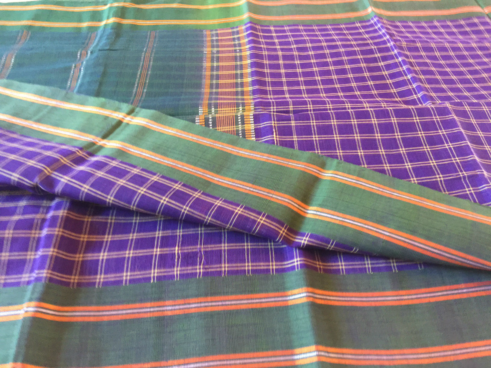 Udupi Purple and Green Handwoven Saree