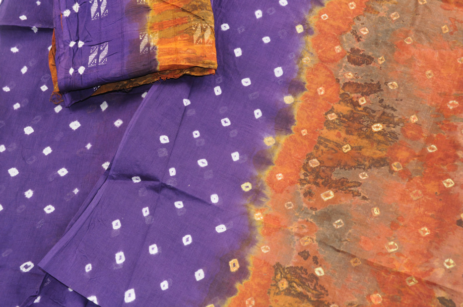 Cotton Bandhni earthy browns and purple