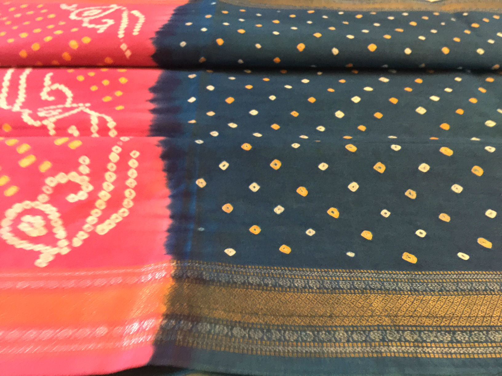 Cotton Bandhani Teal Pink with Zari Border