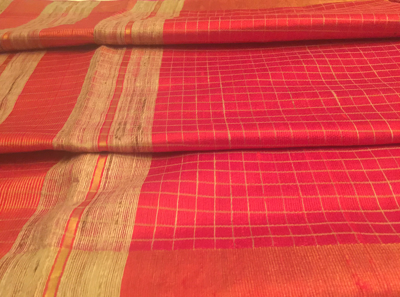 Bhagalpuri Tussar Red Beige Checked Sari