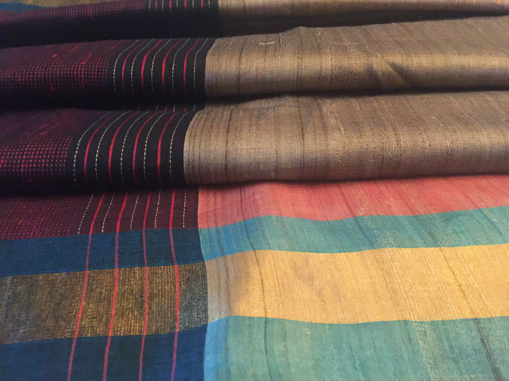 Bhagalpuri Soft Grey-Brown Multi Stripe Saree