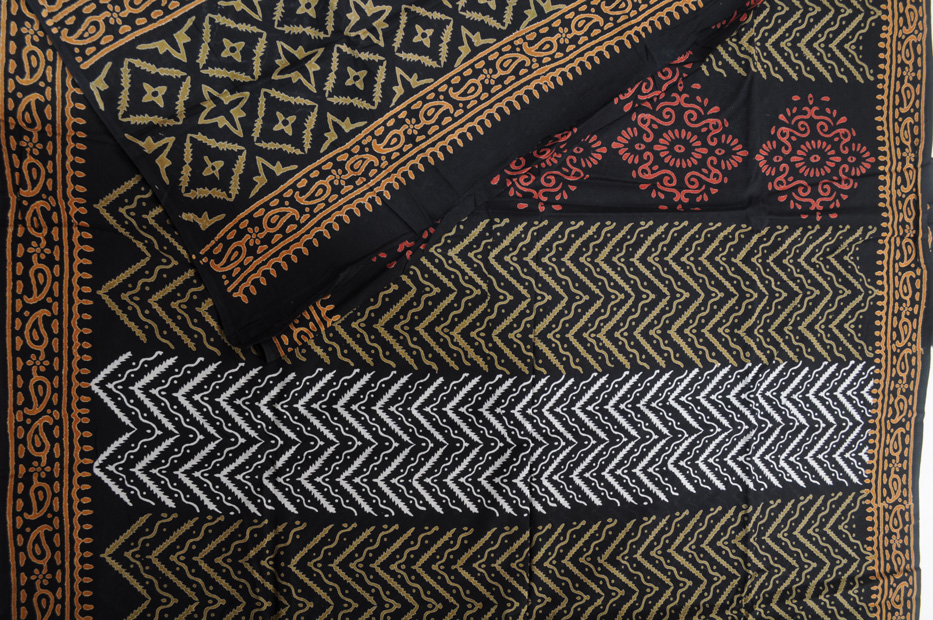 Bagru block print black gold zigzags