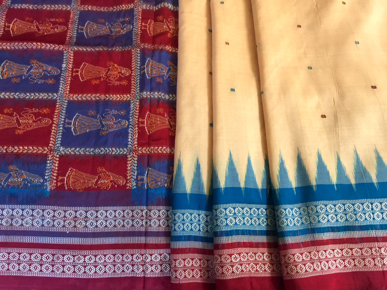 Orissa Bomkai Silk Cream with Red-Blue Double Border
