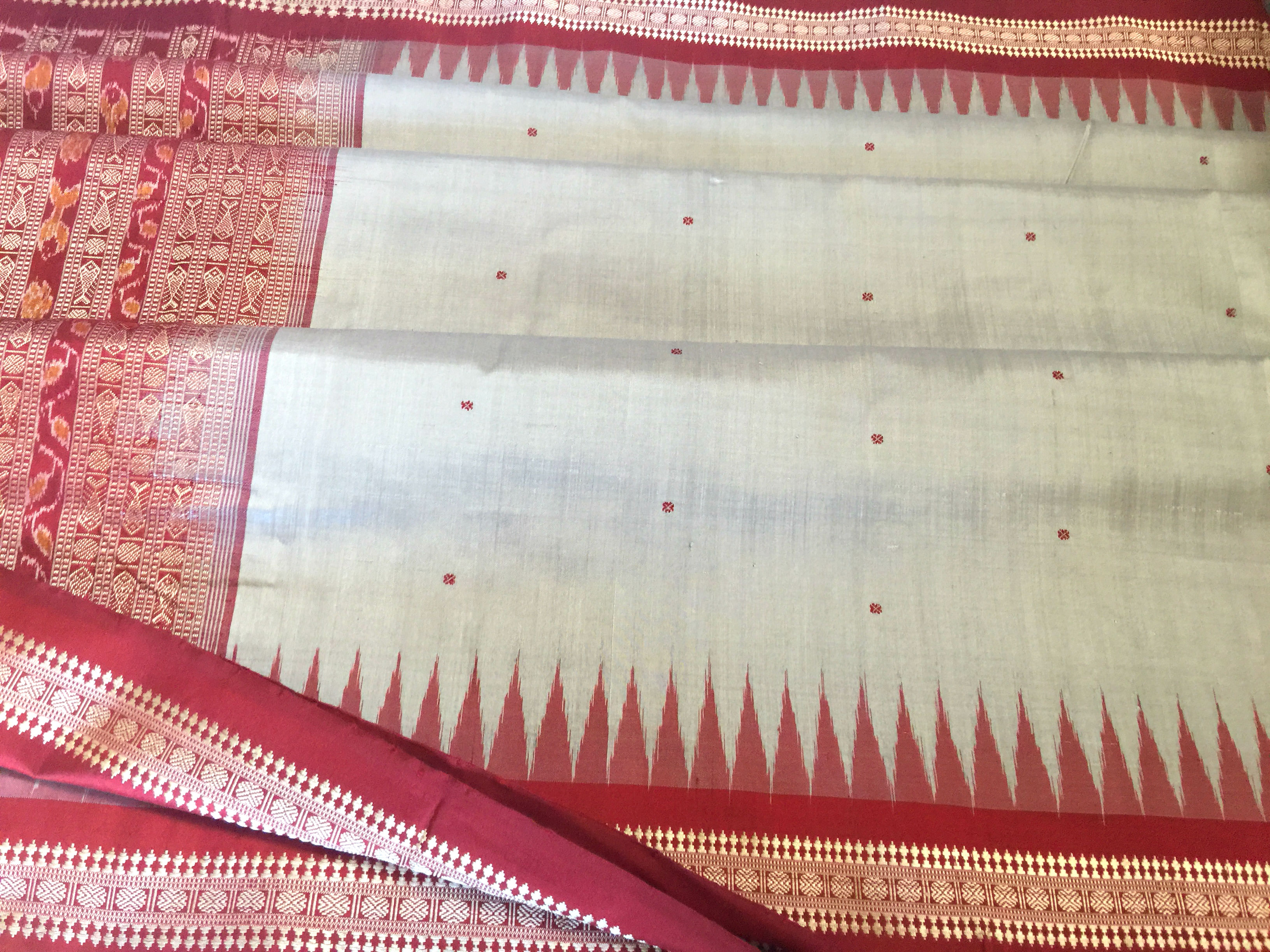 Navaratri Sale! Orissa Bomkai Silk Grey and Maroon
