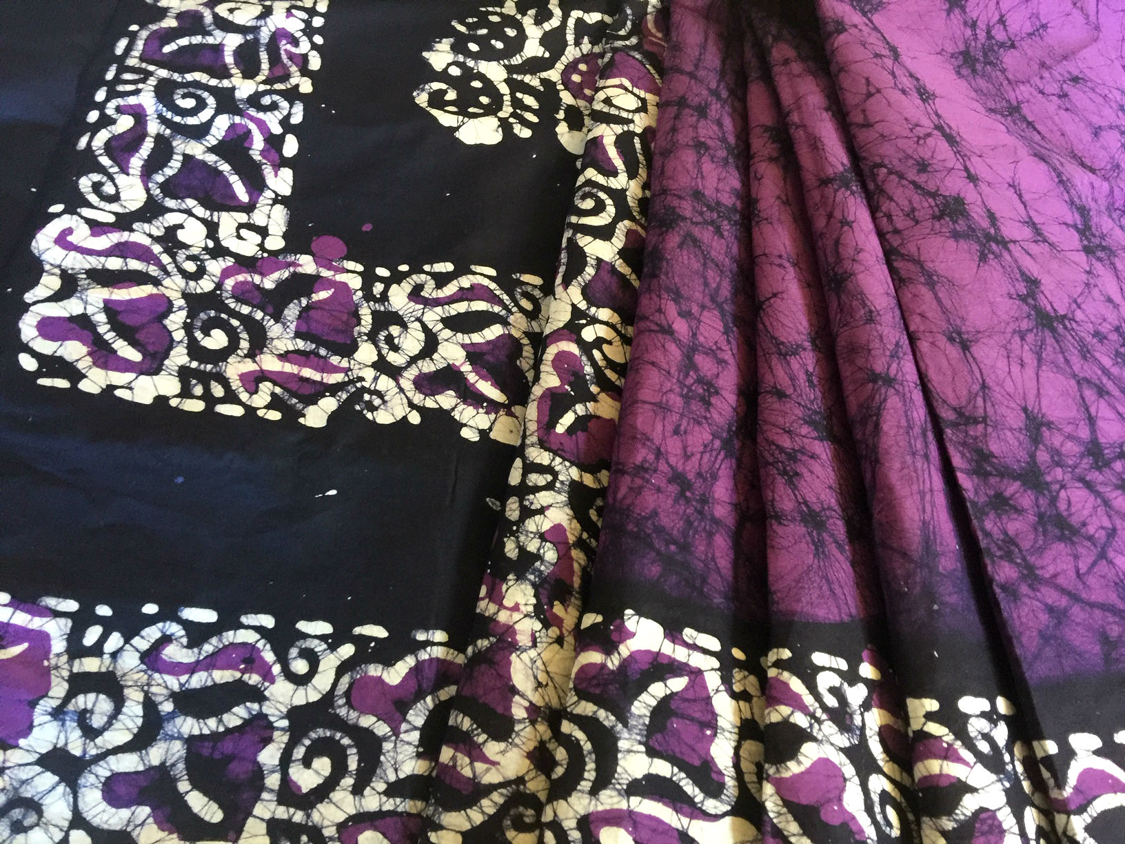 Batik Cotton Purple and White