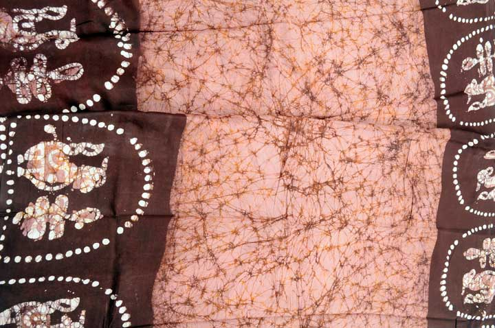 Cotton batik mauve brown partly pallu