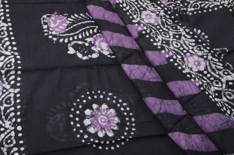 Batik Sari Navy Purple Partly Pallu Style