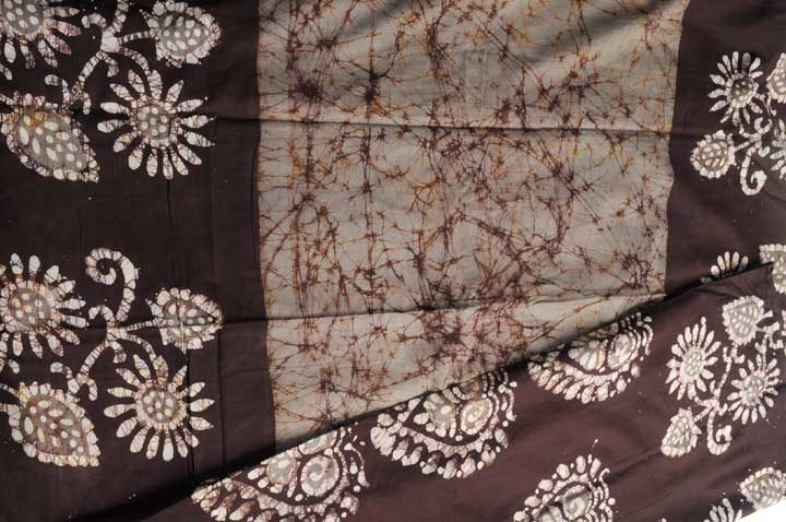 Cotton batik taupe brown partly pallu