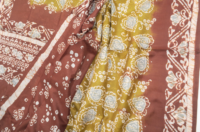 Hand Batik Silk Saree mehndi rust with silvery blue