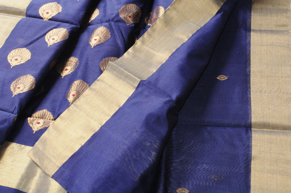 Chanderi cotton royal blue