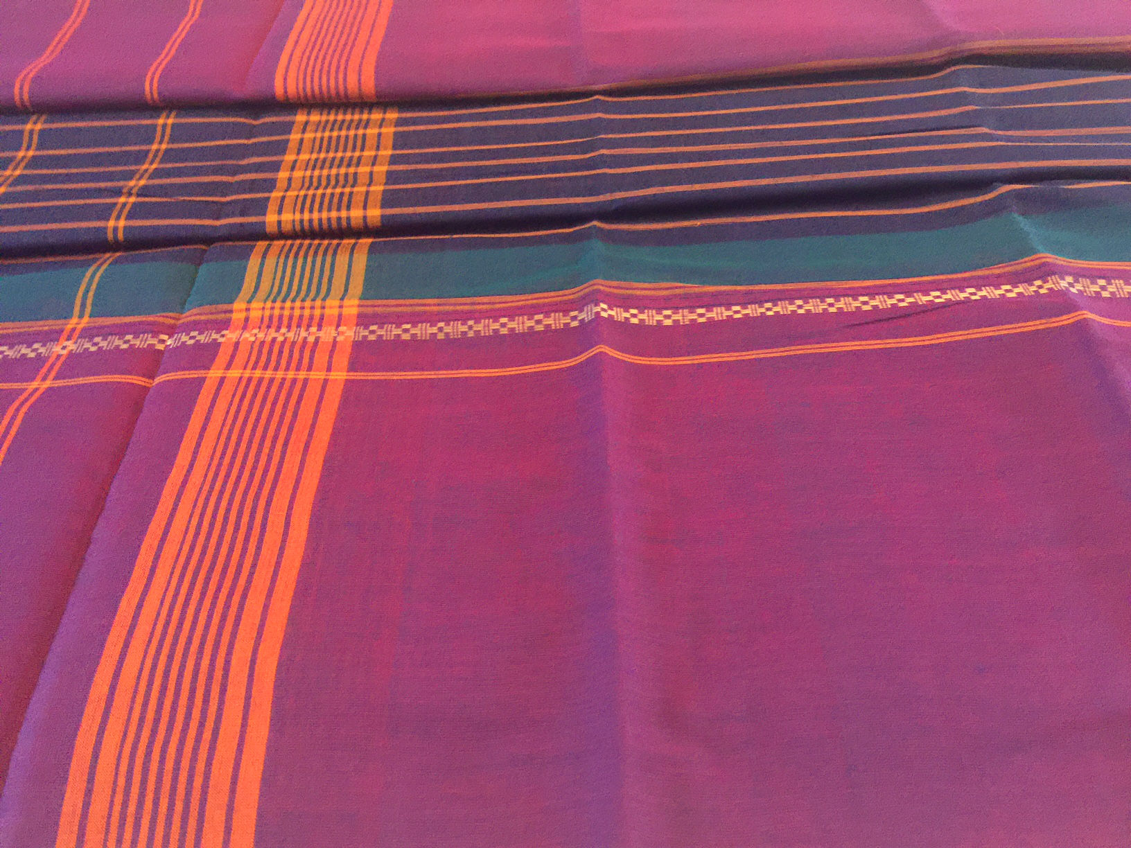 Chettinad Navy with Wide Purple Borders