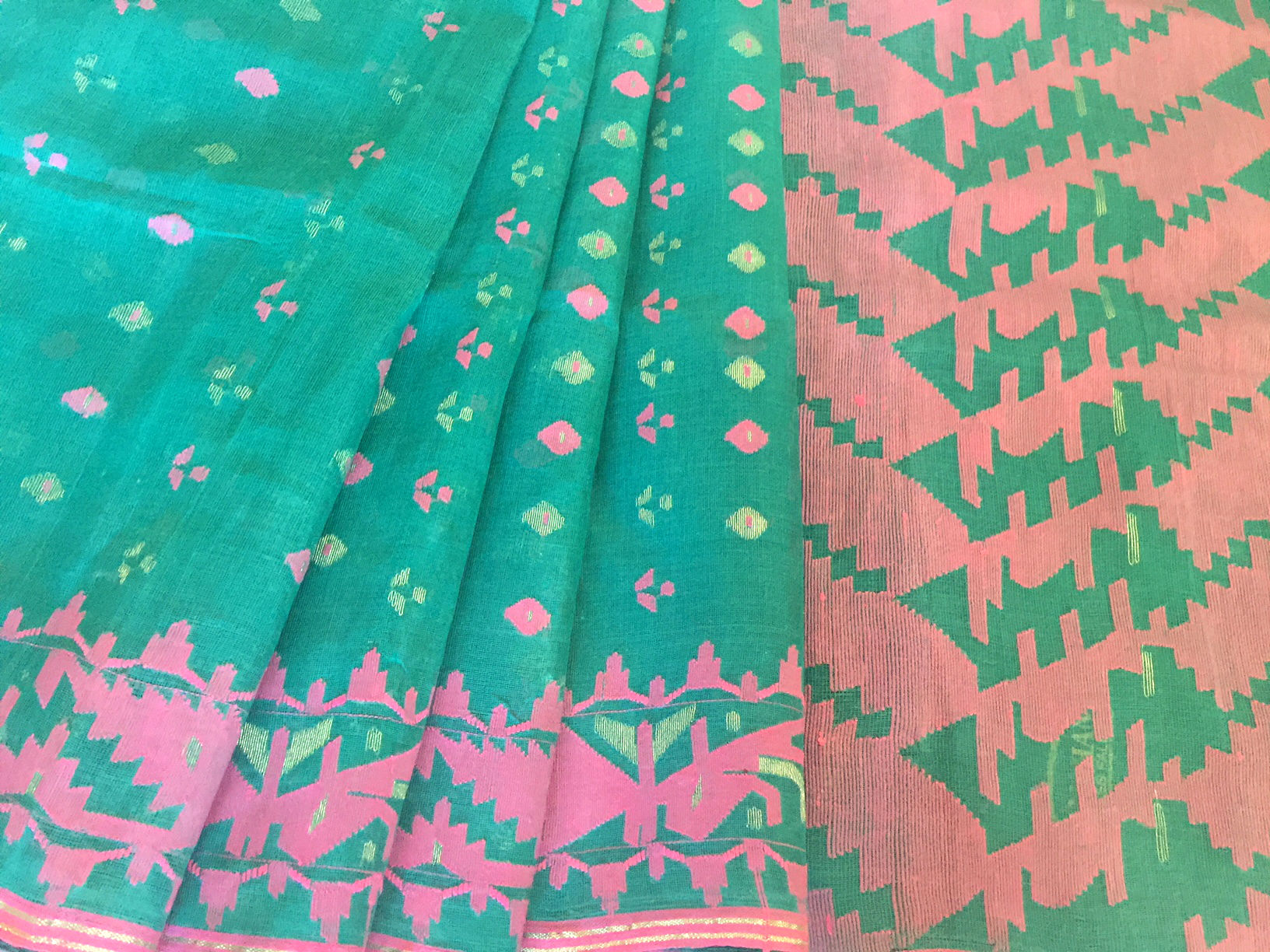 Dhakai Teal and Pink Pure Cotton