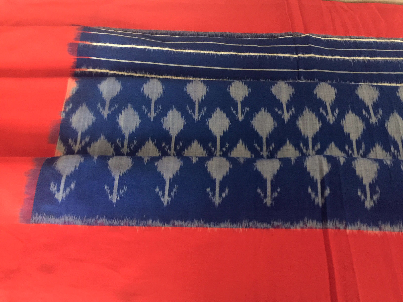 Edem Srinath Blue Red Ikat Dupatta