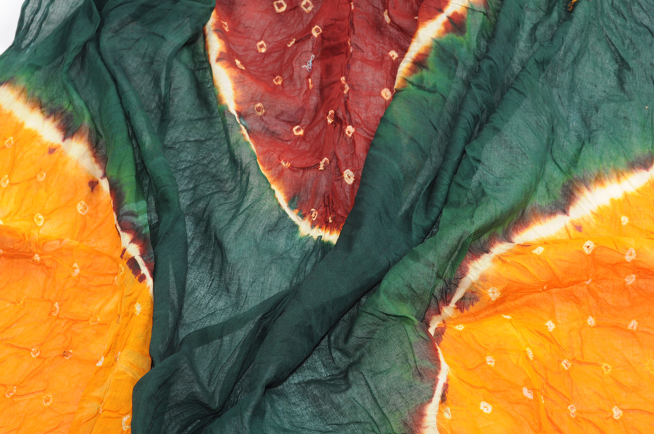 Bandhni dupatta Forest Tangerine and Maroon
