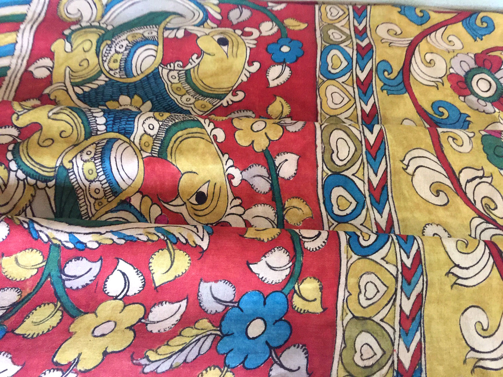 Handpainted Kalamkari on Mangalagiri