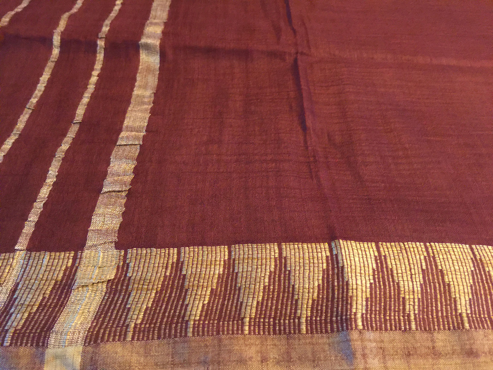 Dupatta Marsala Silk with Temple Border