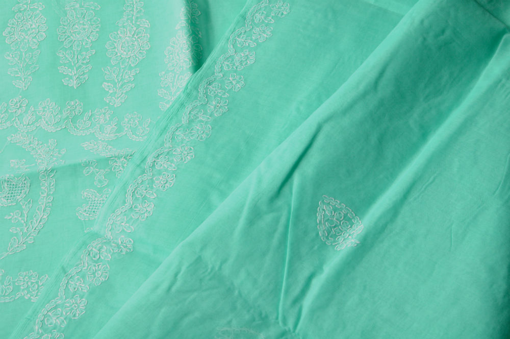 Sale! Chikankari Embroidery Aqua All-over Work