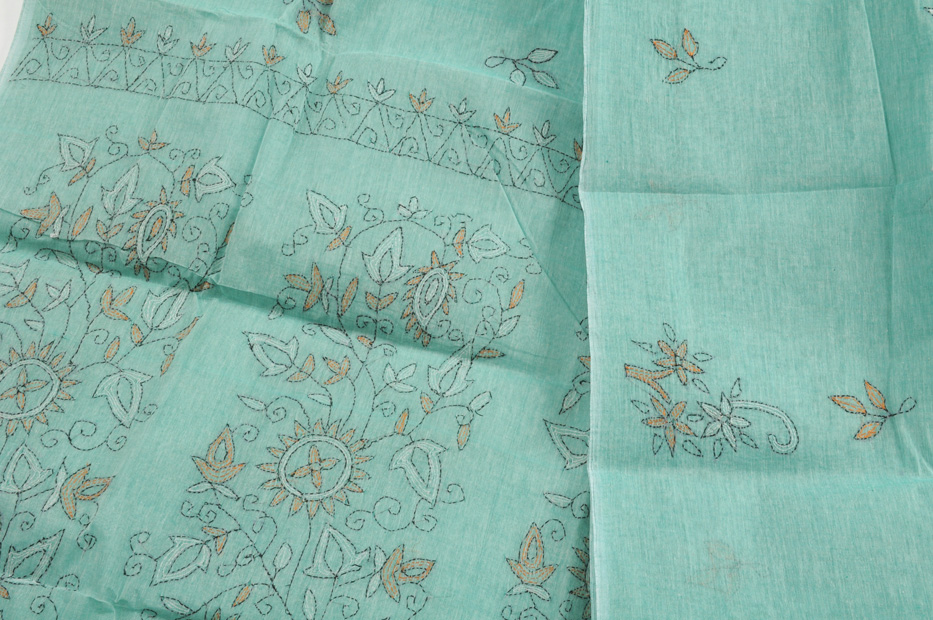 Sale! Kantha Embroidery Light Aqua
