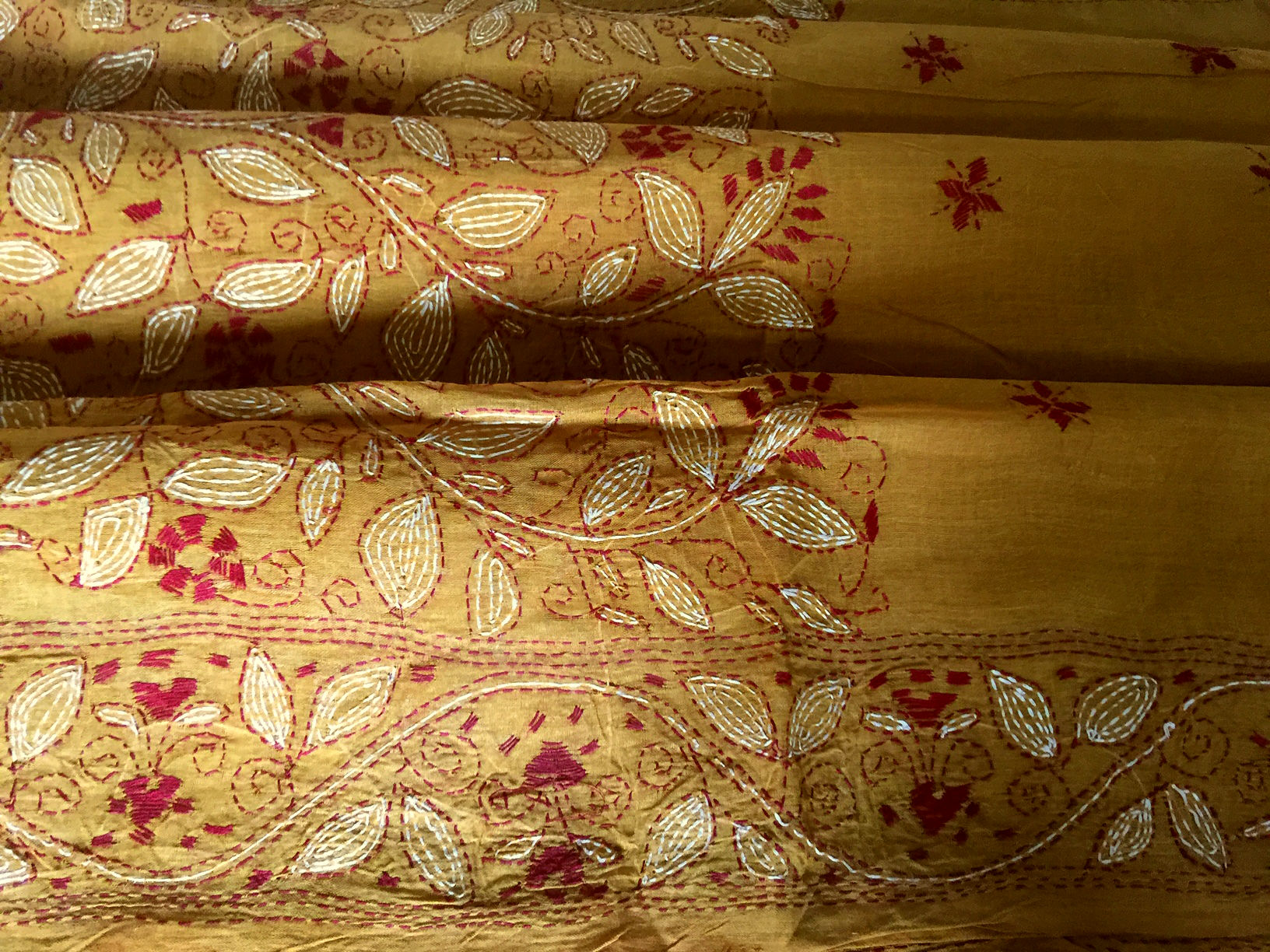 Kantha Embroidery Turmeric with Maroon