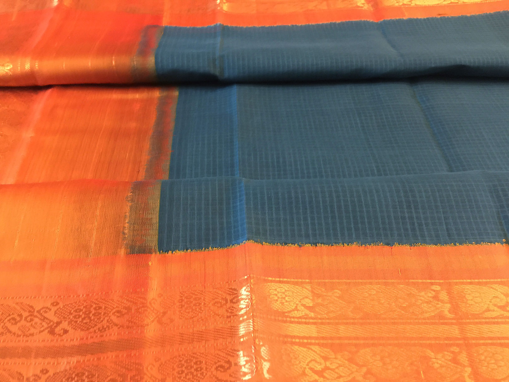 Gadwal Blue and Orange Saree