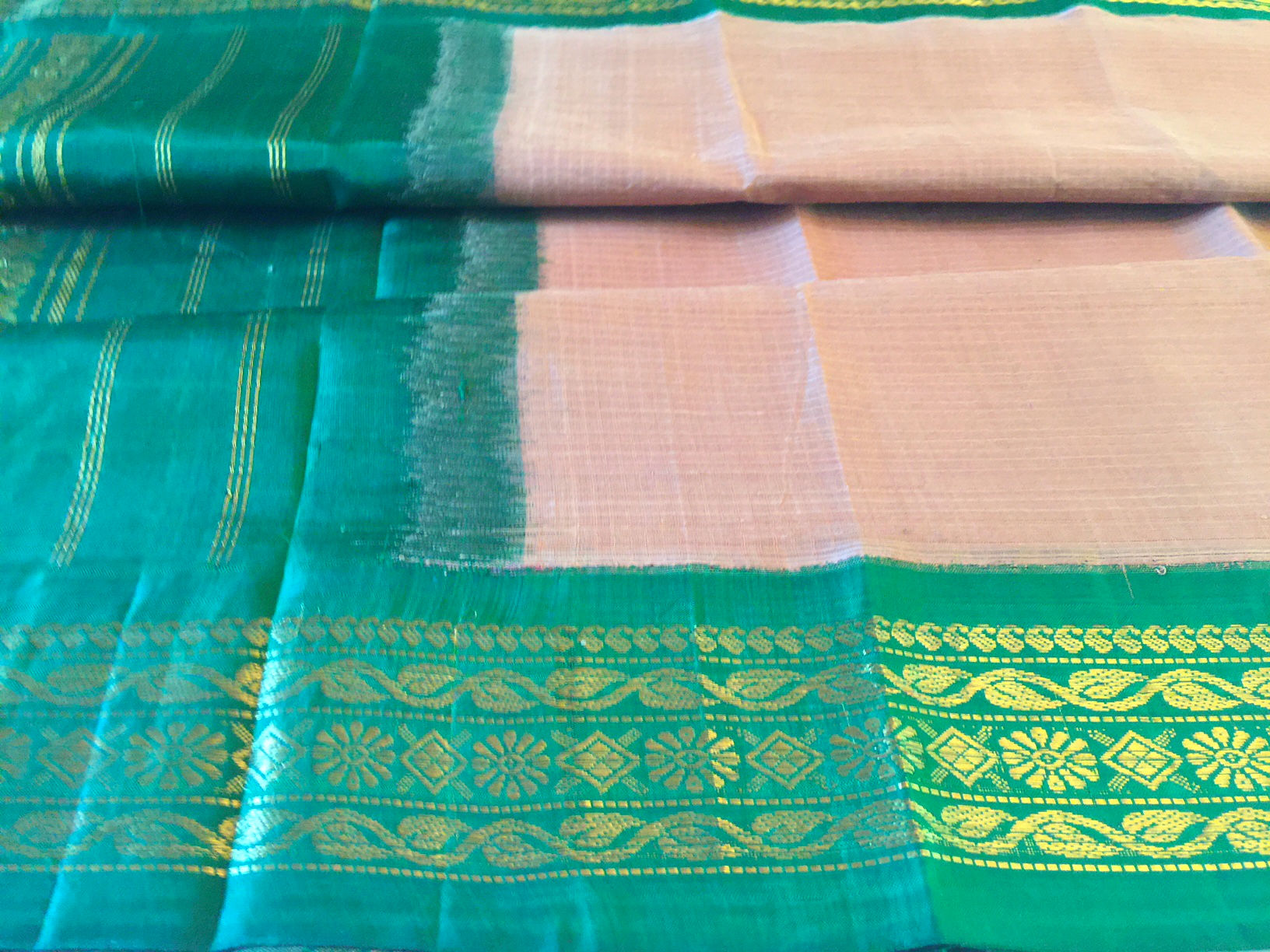 Gadwal Caramel and Green Saree