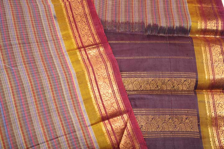 Gadwal Sari earthy checks with maroon