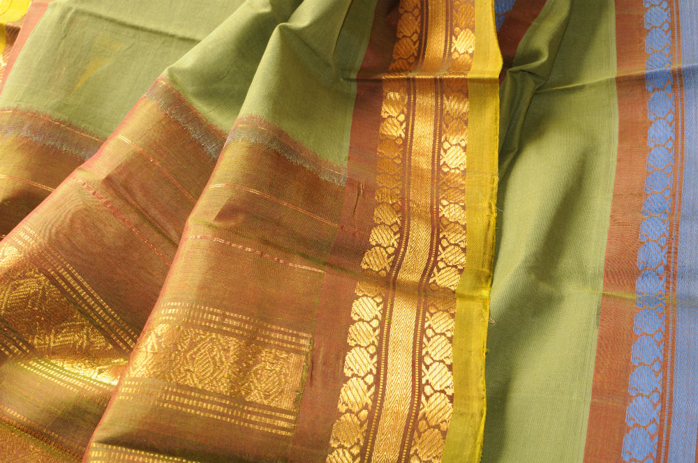 Sale! 30% Off! Gadwal sari pea green with brown