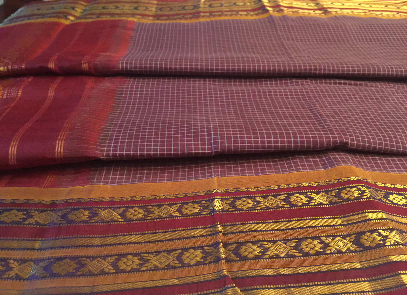 Sale! 30% Off! Gadwal Sari Plum with Maroon