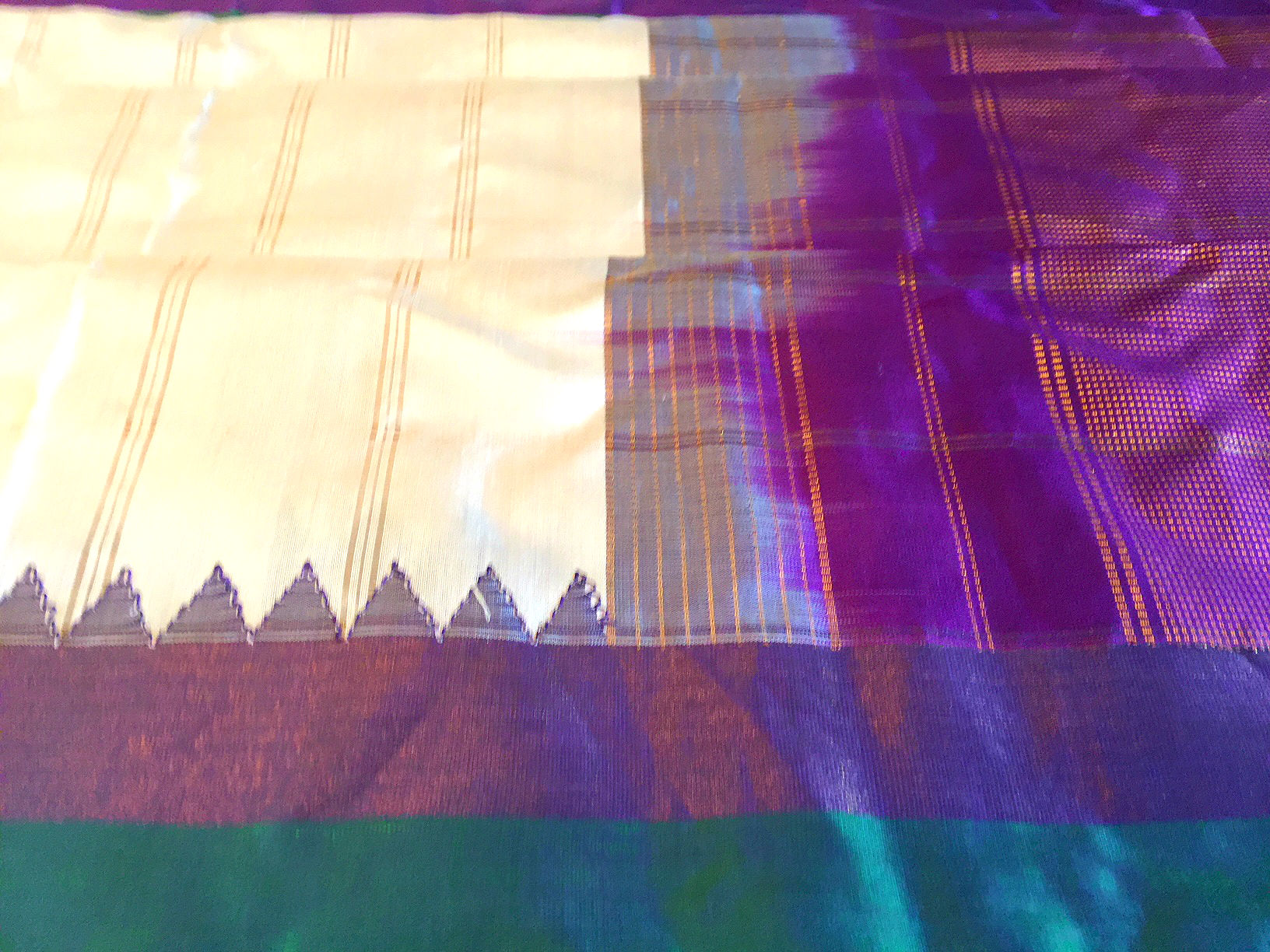 Gadwal Cream Silk with Purple Kuttu Borders