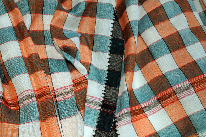 Original Khurda Gamcha Orange Teal check