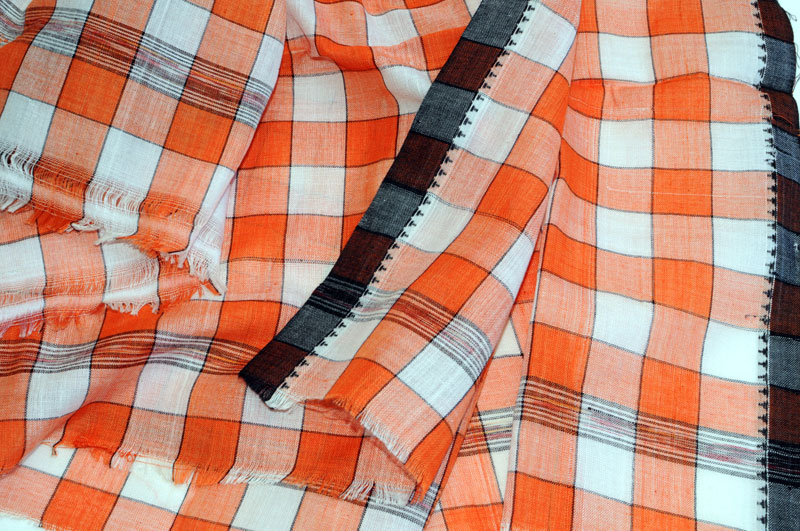 Original Khurda Gamcha Orange White check