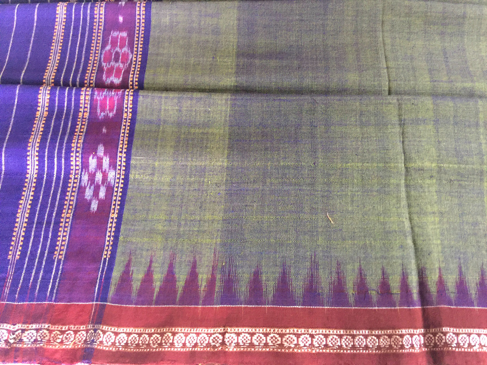 Original Khurda Olive Purple Ikat