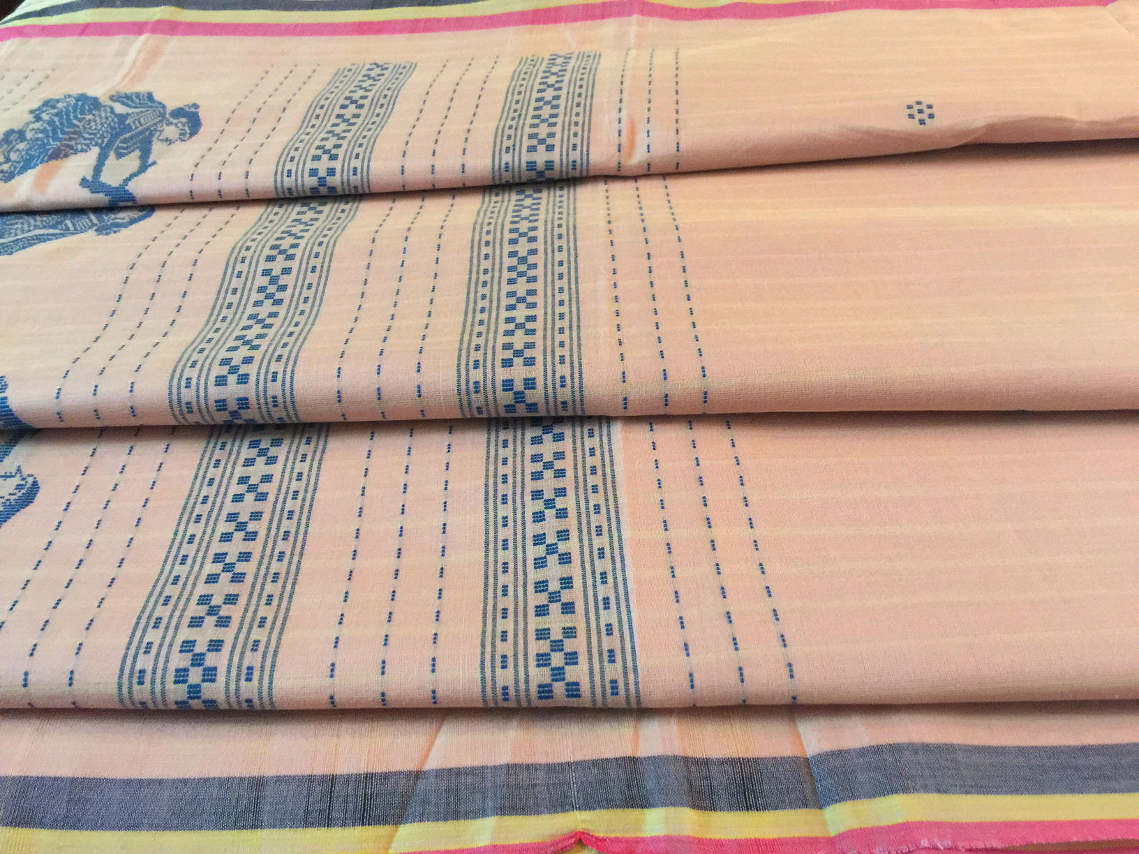 Sale! Soft Pink and Blue Gollabhama Saree