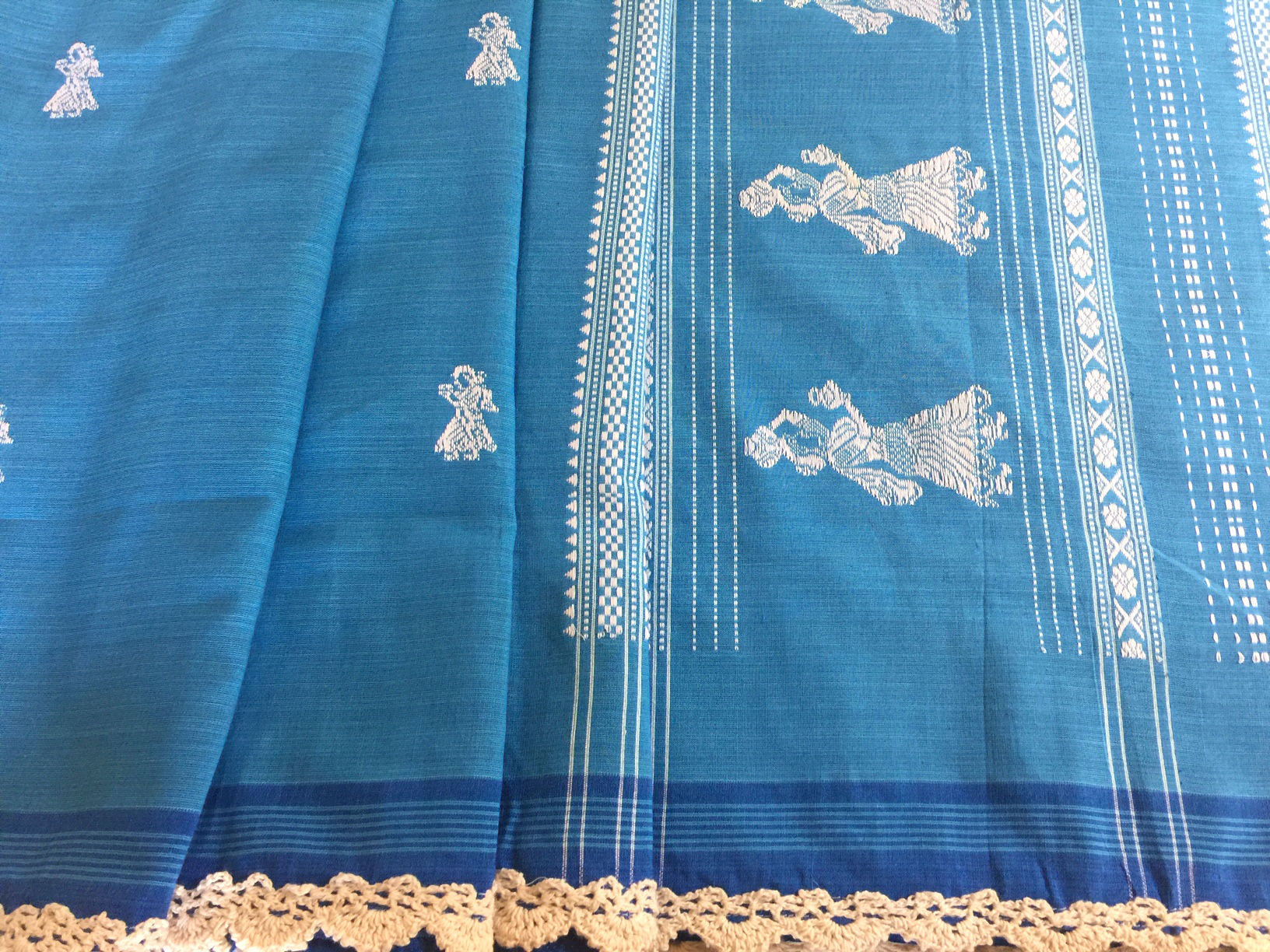 Blue and White Gollabhama with Handmade Lace