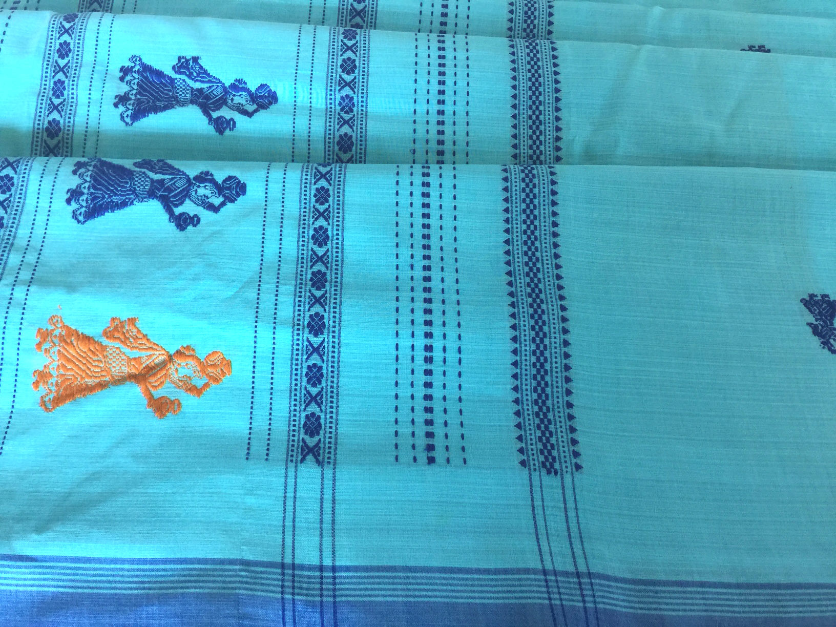 Blue and Orange Gollabhama Cotton