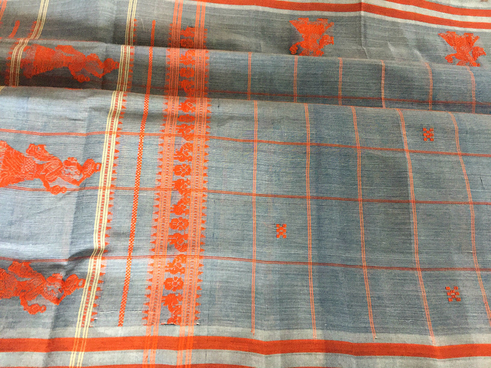 Grey and Orange Checked Gollabhama Cotton