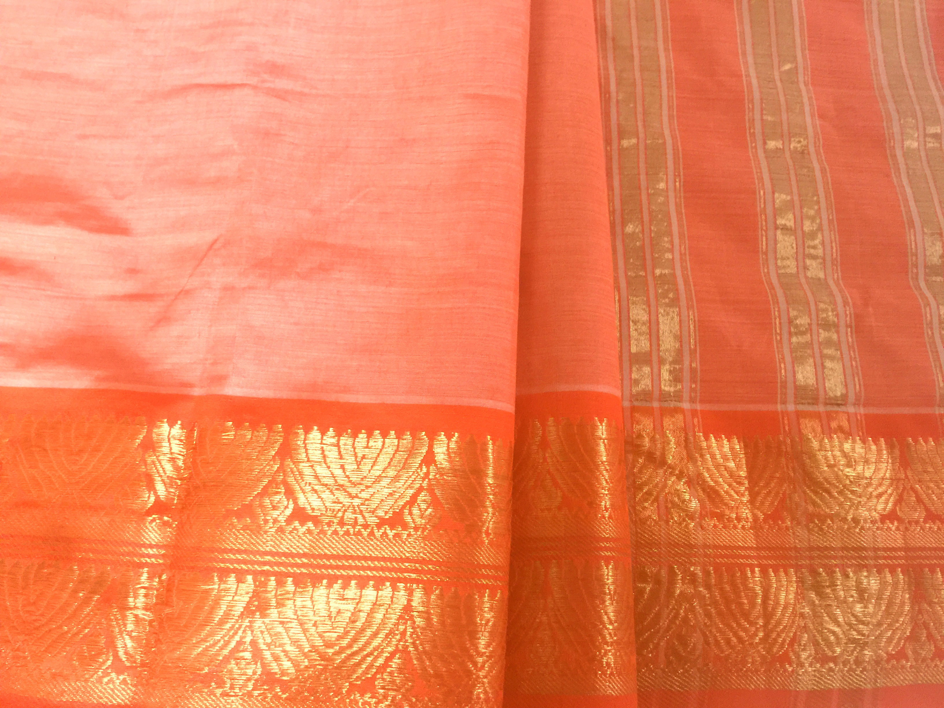 Guntur Peach with Orange Zari Border