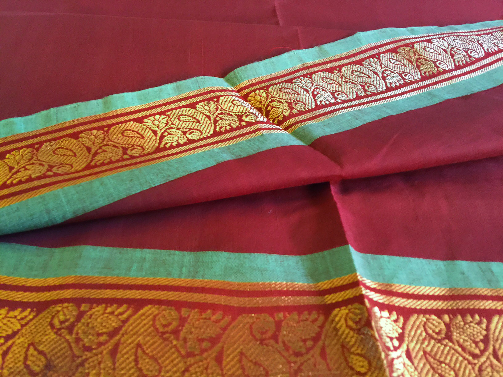 Sale! 20% Off! Guntur Brown and Green Cotton Saree